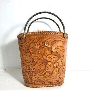 Handbags - Vintage Hand Tooled Leather Purse Metal Handles